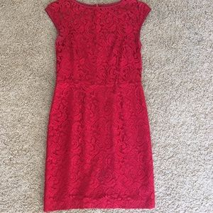 BR Red Lace Cocktail Dress